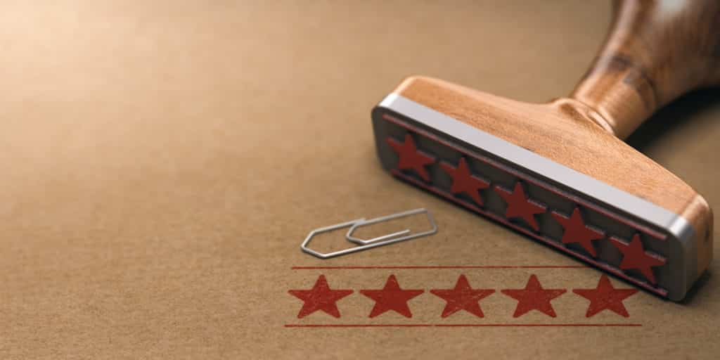 Five stars rating customer reviews